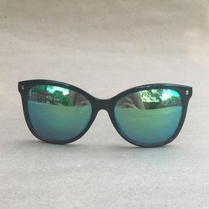 Green and black mirrored sunglasses